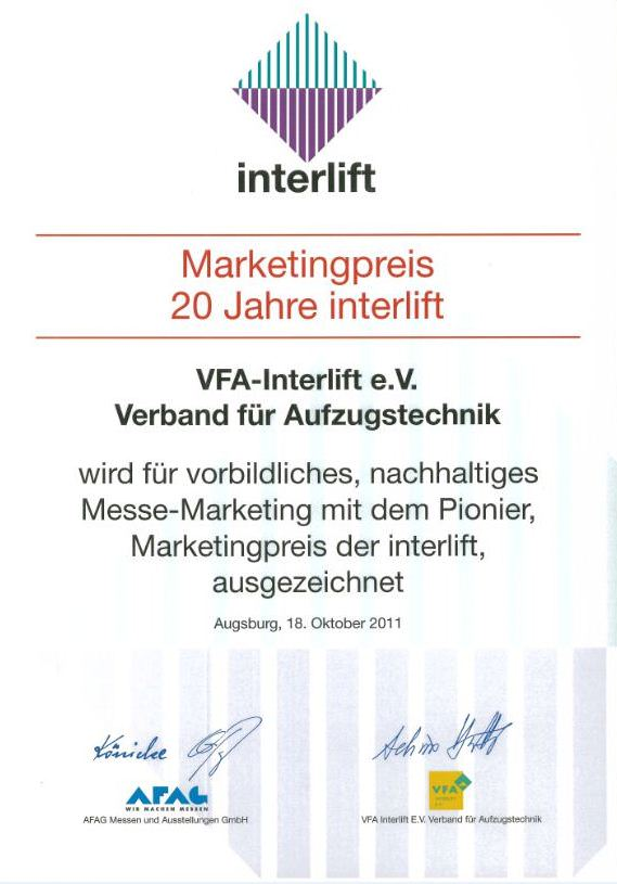 Marketingpreis 20 Jahre interlift